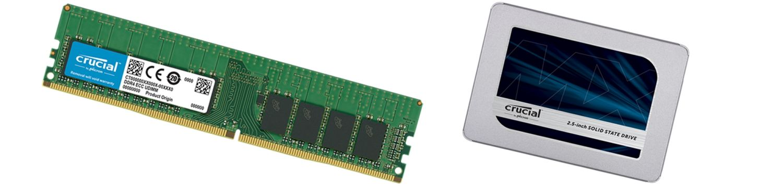 Crucial 메모리와 솔리드 스테이트 드라이브.