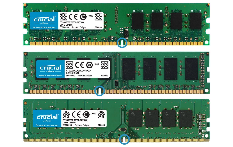 Crucial RAM 메모리 모듈의 3개 세대는 나란히 배치되므로, 각 세대별 메모리의 실제 모양에서 변경 부분을 쉽게 확인할 수 있습니다.