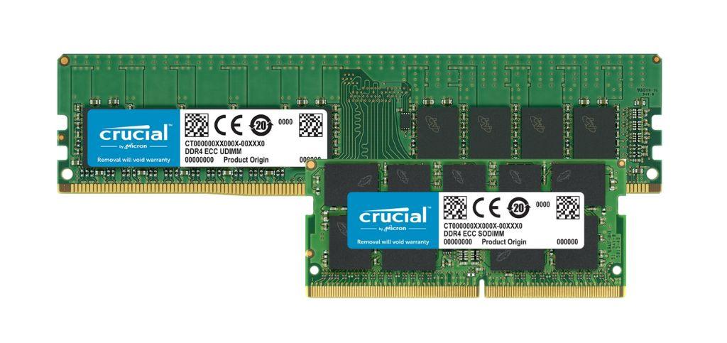 Crucial DDR4 ECC 메모리 모듈.