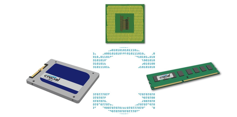 데이터, CPU, 스토리지 및 메모리가 함께 작동하는 방식.