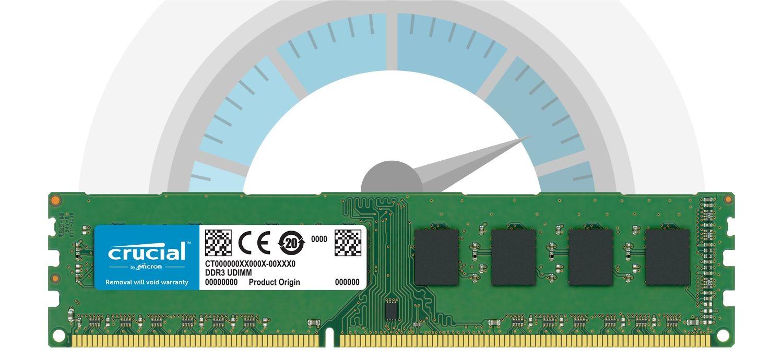 빠른 속도를 나타내는 속도계 앞에 있는 Crucial RAM 메모리 모듈