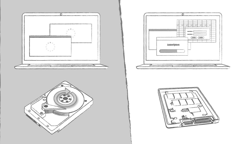 컴퓨터 프로그램 로딩 시간에 대한 하드 디스크 드라이브 대비 SSD의 장점을 설명하는 예시