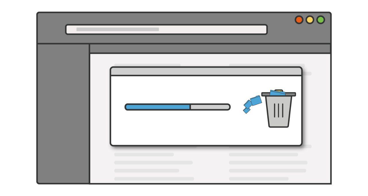 미사용 프로그램이나 애플리케이션이 컴퓨터에서 삭제되는 진행률 표시줄 그림