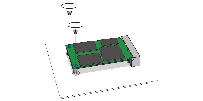 mSATA SSD 드라이브를 데스크톱 컴퓨터 마더보드에 위치한 mSATA 소켓에 나사로 고정하는 방법을 보여주는 예시입니다.