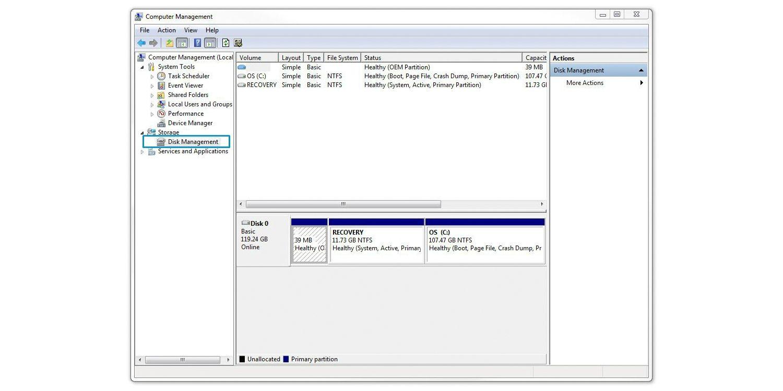 솔리드 스테이트 드라이브를 포맷하기 위한 디스크 관리 선택 과정