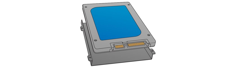 솔리드 스테이트 드라이브를 설치하려면 스토리지 베이의 위치를 확인하십시오.