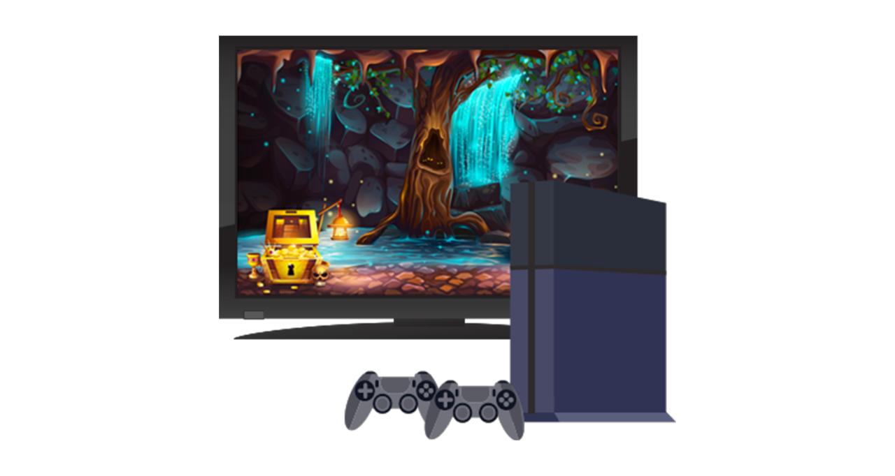 게임용 콘솔과 TV 모니터