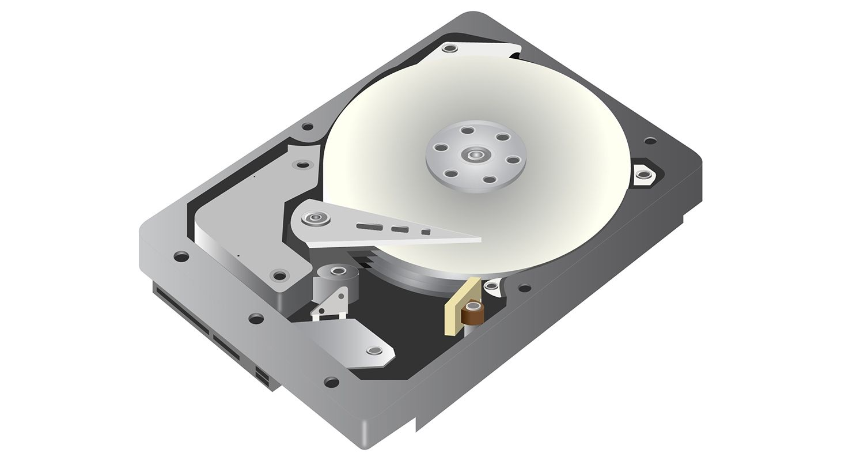 흰색 바탕에 하드 디스크 드라이브(HDD)의 벡터 그래픽 설명