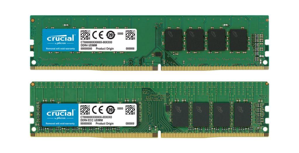 비-ECC Crucial RAM 메모리 모듈 및 ECC Crucial RAM 메모리 모듈