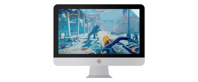 화면에 비디오 게임이 보이는 Mac 컴퓨터 모니터.