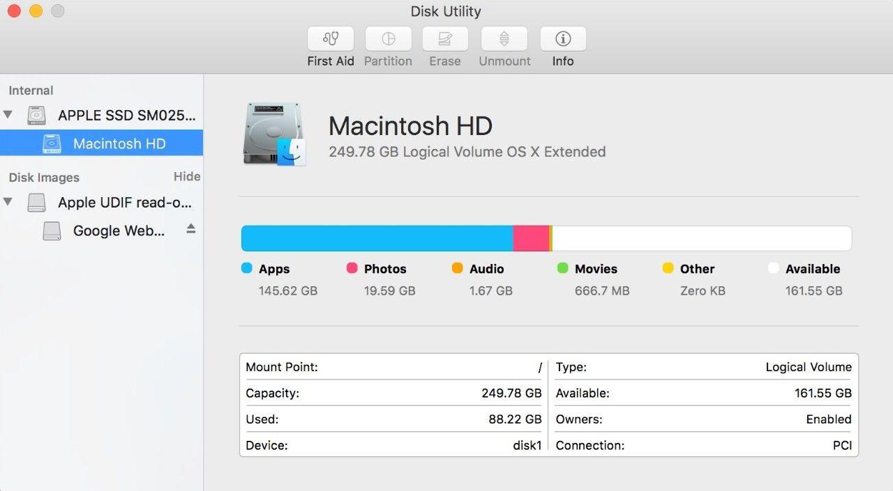 Mac의 디스크 유틸리티 팝업 윈도우 스크린샷