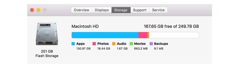 Mac의 저장 공간 정보