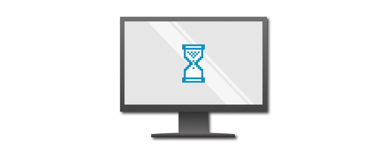 파란색 에그 타이머가 표시된 컴퓨터 화면의 그래픽