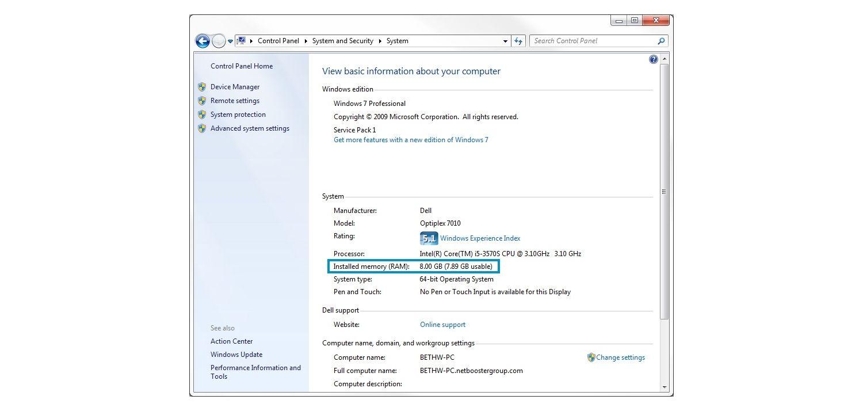 Windows 7 시스템 팝업 창