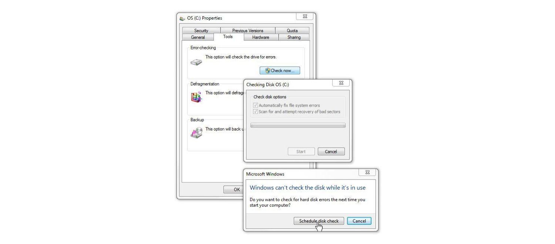 Windows 7 디스크 검사 창